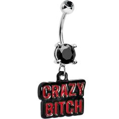 Black Gem Red Crazy Bitch Dangle Belly Ring | Body Candy Body Jewelry