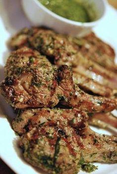 Grilled lamb rib chops marinated with rosemary, garlic and served with a herbaceous gremolata. Lamb Chop Recipes, Meat Recipes, Cooking Recipes, Healthy Recipes, Healthy Food, Hacks Cocina, Lamb Ribs, Bbq Lamb Chops, Baked Lamb Chops