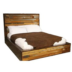 Fabulous King Rustic Barnwood Platform Bed With White Cushions