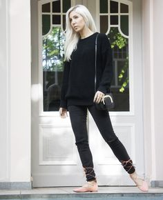 lace-up flats, ootd, lotd, all black, style, fashion, blog