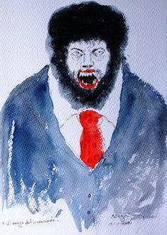"""Bernardo CRESPIN : """"El enojo del licenciado"""" ; 10 Noviembre 2009 ; tinta y acuarela sobre papel ; colección MDAA (adquirido en Agosto 2012 del artista)"""