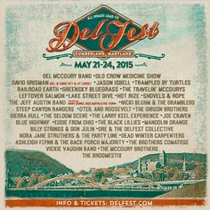 All Roads Lead to Del Fest 2015 with Del McCoury Band, Old Crow Medicine Show, David Grisman, Trampled by Turtles, Greensky Bluegrass, Railroad Earth & More.