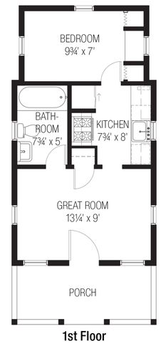 Cottage Style House Plan - 1 Beds 1 Baths 356 Sq/Ft Plan #915-4 Floor Plan…