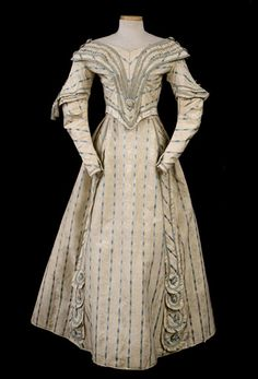Silk moiré damask afternoon gown, c.1845, from the Vintage Textile archives.