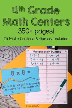 This 350+ page resource is a great way to help your 4th grade classroom or homeschool students master their math skills! Help Your Students Understand Multiplication, Division, the Properties of Operations, Rounding to the Nearest 10 and 100, Fact Fluency, and More! With purchase you get 25 math centers and games, center signs, journal pages, and MUCH MORE! Click through for all the details! $ {fourth grader}