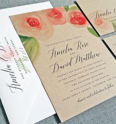 NEW Amelia Kraft Watercolor Rose Floral Wedding Invitation