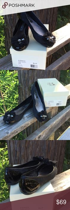 COACH Conney black patent flats COACH Conney black patent flats with jewel & bauble details. Worn only a few times. Coach Shoes Flats & Loafers