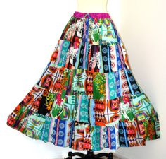 CLEARENCE Boho chic skirt Patchwork skirt by TopsyCurvyDesigns