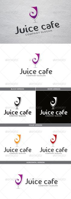 Juice Cafe Logo — Vector EPS #orange #pink • Available here → https://graphicriver.net/item/juice-cafe-logo/6672979?ref=pxcr