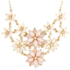 Glitter Stone Flower Statement Necklace | Icing ❤ liked on Polyvore