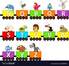Alphabet train animals from N to Z Royalty Free Vector Image Preschool Decor, Preschool Learning Activities, Preschool Classroom, Classroom Themes, Toddler Activities, Alphabet For Toddlers, Daycare Themes, School Labels, English Lessons For Kids