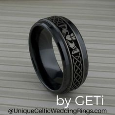 Claddagh & Celtic Knot Wedding Ring in Black Zirconium