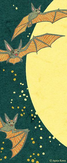 agata kawa Halloween Pictures, Halloween Bats, Vintage Halloween, Illustrations, Illustration Art, You Are My Moon, Hallowen Ideas, Halloween Wallpaper, Creatures Of The Night