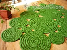 Freeform Rug Handmade Rug Green Rug Wall Hanging Rug by GreatHome