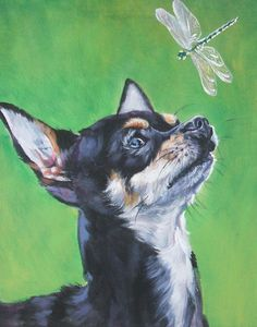 7d5dfc3a1e9f6 Chihuahua dog art CANVAS print of LA Shepard painting 11x14 portrait
