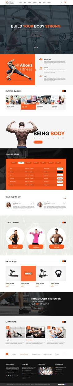 GYM EDGE is best #PSD template for #Gym, #Fitness Clubs, Personal Trainers, Health Centers and health related business #website.