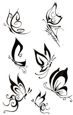 DIseños De mariposas para tatuajes en Blanco y negro, muchos de factoria propia y algunos inspirados en otros diseños de internet. Quedan a libre disposicion si quiere plasmar alguno en su cuerpo.