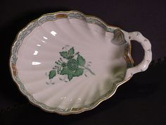 Herend green Chinese Bouquet Clam Shell Bon Bon Dish #herend