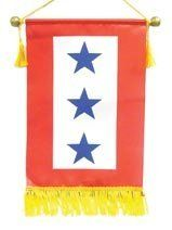 """Service Flag - Three Blue Star by Service Pride. $13.50. Service Flag. Service Pride. Blue Star. Blue Service Flag commemorates the men and women who are serving or have served. *Dimensions: 8.5"""" x 15"""" *Wooden dowel rod with nylon cord for hanging or displaying. *Polyester sheen fabric. *Nylon fringe along the bottom edge for an attractive finished look."""