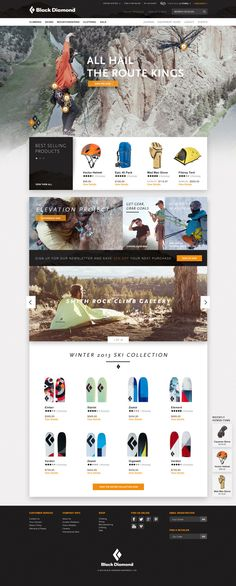 Black Diamond Website Pitch by Ryan Mendes, via Behance #ecommerce #product-page #product-grid