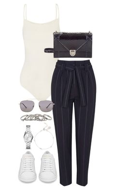 """Untitled #4091"" by theeuropeancloset on Polyvore featuring Hervé Léger, Topshop, Christian Dior, Spitfire, FOSSIL and Yves Saint Laurent"