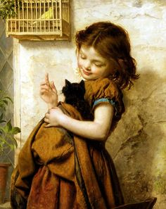 Sophie Gengembre Anderson - girl and cat and bird
