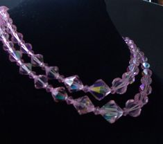 Vintage  Pink Aurora Borealis Crystal Necklace Two Strand