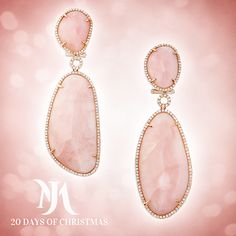 oliday Magic Day 2: Morays Rose Gold Soft Pink Opal Diamond Earrings The understated beauty of soft pink opals is accented by their natural shapes and a gorgeous setting of rose gold and diamond accents. http://ow.ly/FtBgQ