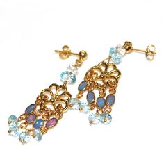 Lightning Ridge Opal Earrings Chandelier Earrings Sky Blue Topaz