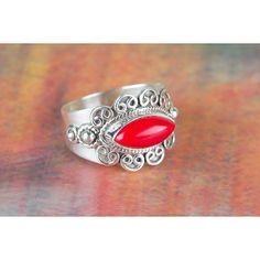 Amazing Coral Gemstone 925 Silver Ring via Polyvore featuring jewelry, rings, coral silver jewelry, silver rings, silver gemstone rings, silver gemstone jewelry and gemstone jewellery