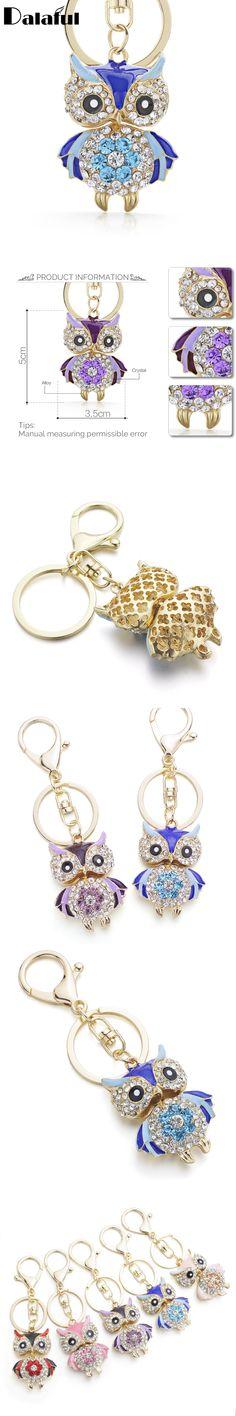 Cute Owl Crystal Key Chains Rings Holder For Women Flower Rhinestone Purse Bag Buckle Pendant For Car Keyrings KeyChains K288