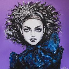 "lasmontanasnevadas: "" Cosmic Disco by Pippa McManus "" Watercolor Portraits, Watercolor Art, Art Beat, Spray Paint On Canvas, Fashion Sketchbook, Cool Sketches, Online Gallery, Figurative Art, Cosmic"