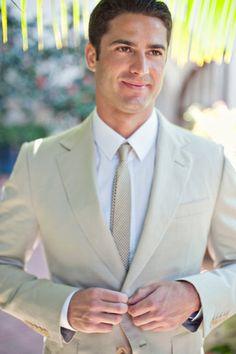 Tan Suit.. Great for an elegant beach wedding #sensationalceremonies