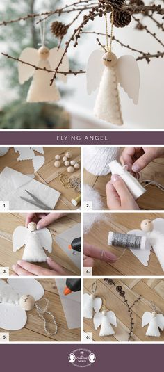 Stylish decorations for your home For Clara, there can be no Christmas without a display of graceful angels. Homemade Christmas Tree, Diy Christmas Ornaments, Felt Christmas, Christmas Angels, Christmas Tree Decorations, Holiday Crafts, Christmas Holidays, Crochet Ornaments, Christmas Poinsettia