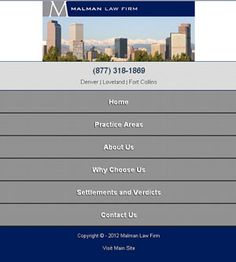 Mobile Website - Malman Law Firm - Denver Personal Injury Attorney & Family Law Lawyer