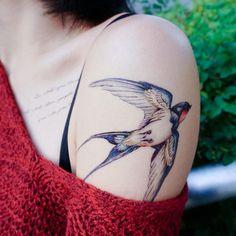 LAZY DUO Bird Tattoo Swallow Tattoo Animal tattoo Flash Realistic tattoo art boho tattoos bohemian T Bohemian Tattoo, Boho Tattoos, Fake Tattoos, Nature Tattoos, Sweet Tattoos, Black Tattoos, Swallow Bird Tattoos, Tattoo Bird, Seahorse Tattoo