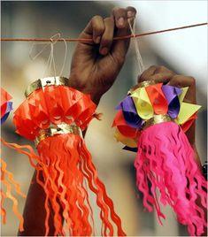 lanterns & diyas this Diwali! Diwali For Kids, Diwali Diy, Diwali Craft, Diwali Party, Happy Diwali, Diwali Celebration, Diwali Decorations, Festival Decorations, Paper Decorations