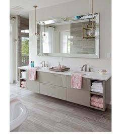 Jillian Harris Home Interior Design - If you're looking to sell your house and don't need to put lots of money in to renovating it, Jillian claims that the appearance of a space can be imp. by Joey Bad Inspiration, Bathroom Inspiration, Bathroom Renos, Master Bathroom, Vanity Bathroom, Master Bedrooms, Bathroom Ideas, Bathroom Cabinets, Remodled Bathrooms