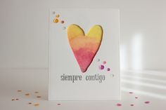Watercolor Background with awesome heart die cut
