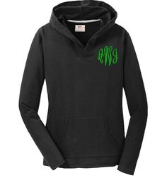 Cotton polyester terry fleece pullover for her has a hood and front pouch pocket The V neck is comfortable and comes in heather colors like purple dark g