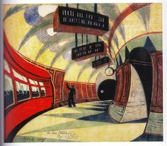 Cyril Edward Power (British, 1872-1951) Tube Station Linocut printed in yellow ochre, spectrum red, permanent blue, viridian and Chinese blue, circa 1932,