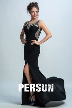 Persun Chic Crystal Side Slit Mermaid Long Prom Gown Long Prom Gowns, Long Evening Gowns, Prom Dresses, Formal Dresses, Formal Wear Women, Black Prom, Long Black, Mermaid, Spring Summer