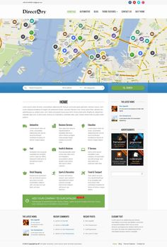 Directory theme is an absolutely unique theme concept, first time ever on themeforest. You're able to easily set up an online directory portal listing categorized items of any type – companies, shops, websites and so on. We've spent quite a long time deve Directory Design, Restaurant Themes, Joomla Themes, Professional Web Design, All Themes, Website Themes, Wordpress Template, Web Design Inspiration, Tutorials