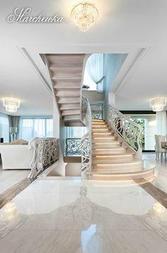 firma Marchewka - SALON www.luksusowewnetrza.eu - www.marchewka.pl -dąb natutalny malowany na biało / natural oak white painted Stairs, Home Decor, Living Room, Stairway, Decoration Home, Room Decor, Staircases, Home Interior Design, Ladders