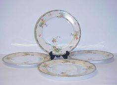Empress China Woodmore Dinner PLates Set 4 Made Japan 1920's #EmpressChinaWoodmore