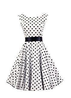 Ensnovo Womens Sleeveless 1950s Vintage Polka Dot Rockabi...