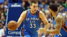 #NBA  DALLAS, TX - MARCH 16:  Mitch McGary #33 of the Oklahoma City Thunder at American Airlines Center on March 16, 2015 in Dallas, Texas.  NOTE TO USER: User expressly acknowledges and agrees that, by downloading and or using this photograph, User is consenting to the terms and conditions of the Getty Images License Agreement.  (Photo by Ronald Martinez/Getty Images)