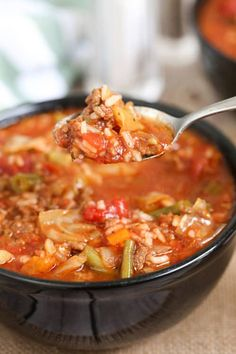 Jan 2020 - This Crock Pot Cabbage Roll Soup is a twist on traditional Cabbage Rolls, for a fraction of the work. With ground beef, cabbage, onion and vegetables; simmered in a rich tomato sauce in your slow cooker. Crockpot Cabbage Roll Soup, Slow Cooker Cabbage Rolls, Lazy Cabbage Rolls, Crock Pot Cabbage, Cabbage Recipes, Crock Pot Recipes, Slow Cooker Recipes, Soup Recipes, Cooking Recipes