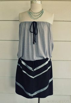 WobiSobi: Easy Chevron Strapless Dress out of Two T-shirts.