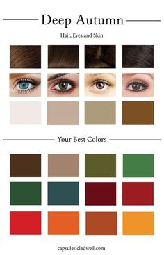 How To Create Your Personal Color Palette (Plus Take Our Color Quiz) cladwell says I'm deep autumn color palette and yes. These colors look good on me and I am an autumn both looks and personality wise Deep Autumn Color Palette, Skin Color Palette, Color Palettes, Deep Winter Colors, Makeup Palette, Estudio Makeup, Color Type, Color Red, Beauty Quiz